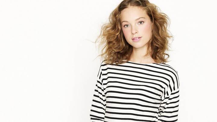 Heloise Guerin In Lining Top At JC Crew Photoshoot